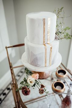 Modern Marble Wedding Cake with Metallic Fondant