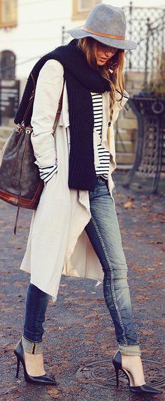 #winter #fashion / stripes + cream coat