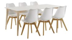 JADE-ruokailuryhmä, 6:lla BASE-tuolilla (valkoinen/tammi) - Ruokailuryhmät   Sotka Norman, Jade, Dining Chairs, Furniture, Home Decor, Decoration Home, Room Decor, Dining Chair, Home Furnishings