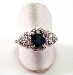Sapphire, Diamond and 18kt White Gold Ring  1.78 Carat Sapphire .39 Carat Diamonds. $5,300.00, via Etsy.