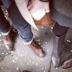 """Her Jane Stitching Horse Old Town leather - 14"""" Frye Boots and my Grenson Old Fred's British workwear Boot. well aren't we just fancy. My Pants are Gap 1969's but don't tell anyone."""