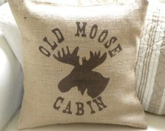 Items similar to Burlap (hessian) deer reindeer pillow cushion for Christmas winter or boys room - Etsy Front Page item on Etsy Hessian, Burlap, Moose Lodge, Moose Decor, Custom Shades, Cozy Cabin, Cabin Chic, Textiles, Perfect Pillow