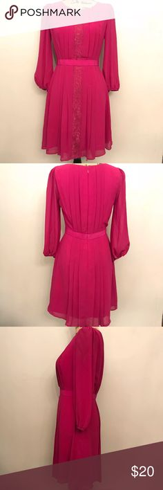 """Jessica Simpson Pink A-line Dress Jessica Simpson Pink A-line Dress - Size 4 - Long Sleeve - great for work, cocktail parties, Sunday brunch, etc! Very versatile!  Worn only a few times  100% polyester Armpit to armpit: 16"""" flat (32"""" bust) Waist 13.5"""" flat (28"""" around) Jessica Simpson Dresses Long Sleeve"""