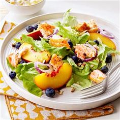 Northwest Salmon Salad Recipe -I love that I can use my favorite Northwest ingredients—fresh salmon, blueberries and…