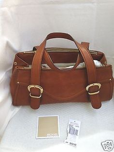 Michael Kors Purse Satchel Stanford East/West Brown Leather $358
