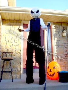 Homemade Jack Skellington Costume: Each year we have a themed Halloween party with a pretty large number of people coming to our house to celebrate.  So far our themes have been vampires,