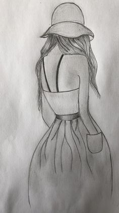girls back drawing ideas for you. girls back drawing ideas for you. Easy Pencil Drawings, Art Drawings Sketches Simple, Girl Drawing Sketches, Pencil Sketch Drawing, Girly Drawings, Drawing Girls, Girl Sketch, Simple Sketch Drawing, Simple Cute Drawings