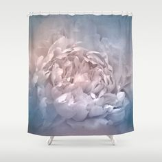 Blushing Blue and Cream Peony - Floral Shower Curtain by Jai Johnson - $68.00