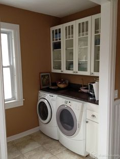 Our Sleek Dayton Cabinets In Painted White Are Used In This Remodel. Notice  The Beautiful · LAUNDRY ROOM ...