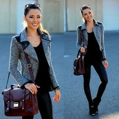 Shoppiin Gray Moto Jacket, Next Modal Black Asymmetrical Tank, Choies Burgundy Bag
