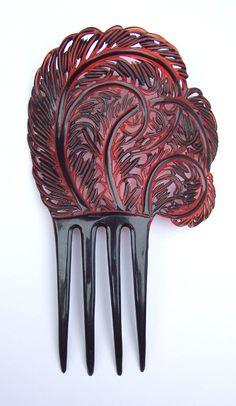 Art Deco hair comb asymmetric hair accessory by ElrondsEmporium