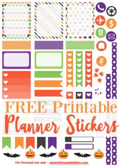 Free set of printable Halloween Life Planner stickers - PNG file compatible with Cricut + PDF