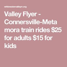 Valley Flyer - Connersville-Metamora train rides $25 for adults $15 for kids