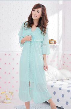 oooooh i WANT this one!!!  Fashionable Lace Flower Strip Sleepwear  -Robe $9.19