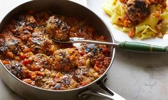 Yotam Ottolenghi's ricotta and oregano meatballs: 'The younger and fresher your ricotta, the less you have to do to enjoy it.' Photograph: Colin Campbell for the Guardian Beef Recipes, Italian Recipes, Whole Food Recipes, Vegetarian Recipes, Cooking Recipes, Healthy Recipes, Recipes Dinner, Cooking Time, Healthy Food