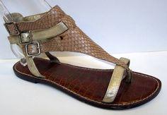 Sam Edelman 'Grenna' Nude Leather Gladiator Sandal Size 8.5M #SamEdelman #Gladiator