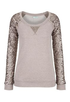 Sequin sleeve scoop neck sweatshirt from maurices