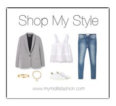 Broderie cami teamed with denim cigarette length jeans, tailored blazer and trainers