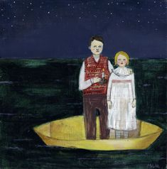 Ivy and Parker drifted through black seas with only candlelight to guide to them by amanda blake art, via Flickr