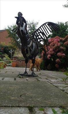 Recycled metal cockerel sculpture by Brian Thompson