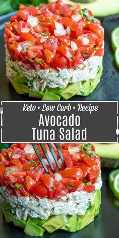 Low Carb Recipes, Diet Recipes, Cooking Recipes, Healthy Recipes, Easy Recipes, Avocado Tuna Salad, Fresh Avocado, Keto Avocado, Healthy Cooking Recipes