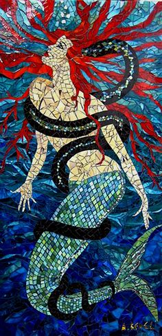 Tiffany glass mosaic by Anne Bedel, 2008