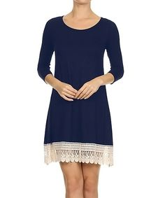 Another great find on #zulily! Royal Blue Lace-Trim Dress by Kokette #zulilyfinds