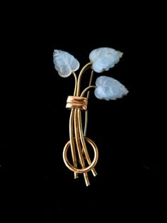 Signed KREISLER Vintage 1940s Rare Blue Frosted Fruit Glass Leaves Foliate Gold Tone Metal Brooch by TheGemmary on Etsy