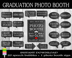 Graduation Photo Booth Props – 20 Speech Bubbles And 1 Photo Booth Sign-Class of 2015 Photo Props-Instant Download