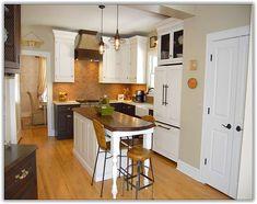 seats underneath island (no overhang); narrow kitchen ...