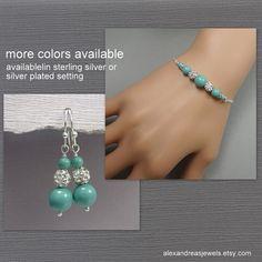 Jade Pearl Bridesmaid Bracelet Set, Mint Bridesmaid Jewelry, Bridesmaid Gift, Bracelet and Earrings, Mother of the Groom Gift