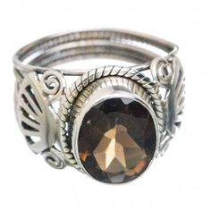 925 SOLID STERLING FINE SILVER Smoky Quartz Rings