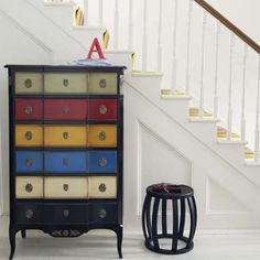 Awesome redo of black and corresponding colors for drawers, now all I have to do is find a piece of furniture like this...