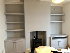 Shaker style base cabinets with floating shelves You are in the right place abo. Alcove Ideas Living Room, Small Living Rooms, Home Living Room, Living Room Designs, Alcove Tv Unit, Alcove Shelving, Built In Cupboards Living Room, Living Room Shelves, Alcove Cupboards