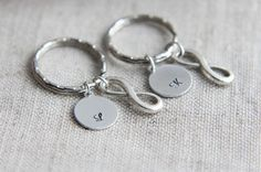 Set of 2 Infinity keychain Initial Keychain Personalized