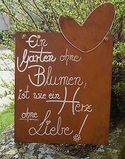 Edelrost Spruchtafel Ein Garten ohn...