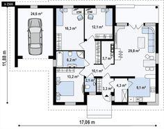 GL TL- to wyjątkowy dom z kategorii projekty domów z czterema pokojami Bungalow House Plans, Dream House Plans, Modern House Plans, Small House Plans, House Floor Plans, Apartment Layout, Apartment Plans, Floor Plan Sketch, Plans Architecture