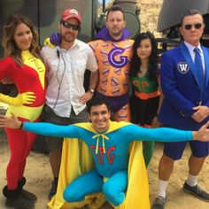 The cast of Scorpion behind the scenes for Super Fun Guys. I was sad Sylvester wasn't there for that!
