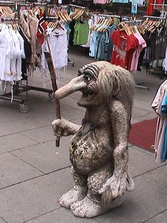 Many Norwegians believe in Trolls, which generally manifest themselves as magical dwarfs, often appearing as statues in front of souvenir shops in Norway.