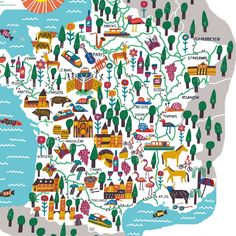 Map of French waterways - Marcus Oakley.