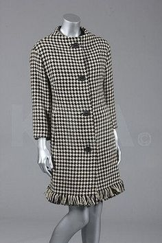A Christian Dior hound's-tooth checked wool coat, probably Spring-Summer 1960, Kerry Taylor Auctions