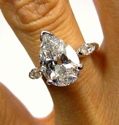 Holy 1930..Vintage Estate 3.12ct Classic PEAR Cut Diamond Engagement Ring in PLATINUM with Marquise diamonds