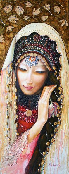 """Saatchi Art Artist Dobriela Koeva; Painting, """"Girl with tulip-2- SOLD"""" #art"""