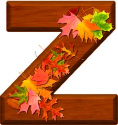 Presentation Alphabets: Cherry Wood Leaves Letter Z Monogram Alphabet, Alphabet And Numbers, Frozen 1, Fall Fest, Happy Fall Y'all, Flower Patterns, Autumn Leaves, Presentation, Clip Art