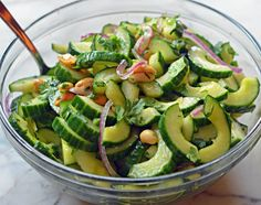 Thai Cucumber Salad with Peanuts - This light salad is one of my go-tos. The dressing is tangy yet sweet and the peanuts add a tasty crunch.