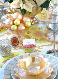 different take on holiday colors in this tablescape . . . inspired by the tablecloth