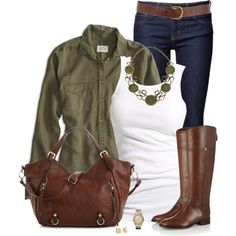 Olive & Brown  ~~  (check out my Style & Inspiration Board too for cute Spring & Summer Fashion from some great Polyvore designers!!)
