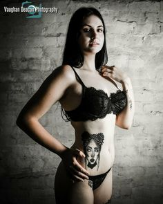 Lingerie glamour portrait of tattoo model