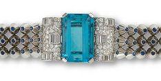 Art Deco aquamarine, diamond and sapphire bracelet by Mauboussin, c. 1939
