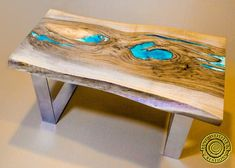 Round live edge coffee table with glowing resin fillin/hairpin cooper legs ash wood Log Furniture, Living Furniture, Custom Furniture, Resin Table, Wood Table, Dining Table, Table Bench, Turquoise Color, Silver Color